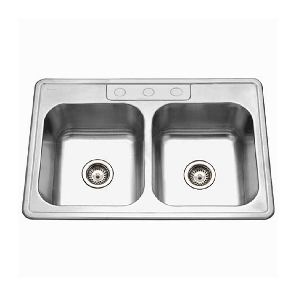 Houzer Glowtone Topmount Stainless Steel 3 Hole 50 50 Double Bowl