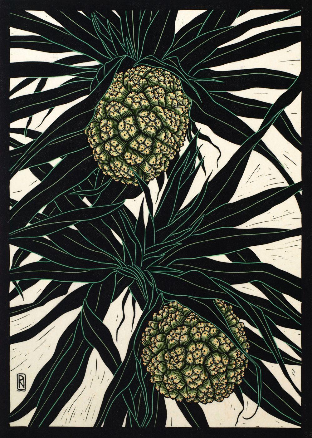 """Pandanus Fruit"" Linocut by Rachel Newling. http://rachelnewling.com/ Tags: Linocut, Cut, Print, Linoleum, Lino, Carving, Block, Woodcut, Helen Elstone, Trees, Leaves, Foliage, Fruit, Exotic."
