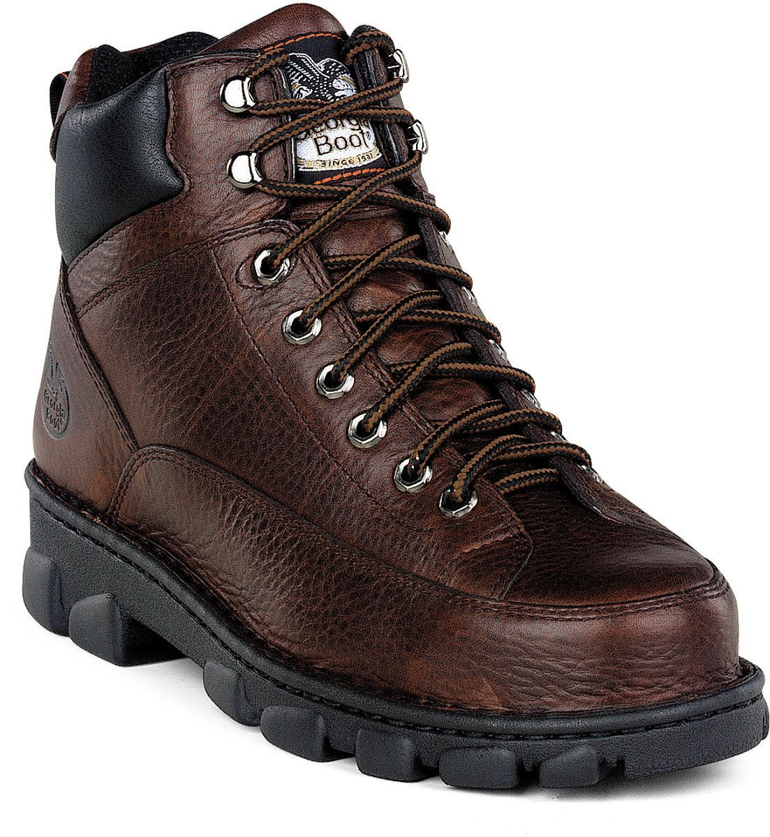Georgia Eagle Light Mens Dark Brown Leather Wide Steel Toe Work Boots Steel Toe Work Boots Square Toe Boots Steel Shoes