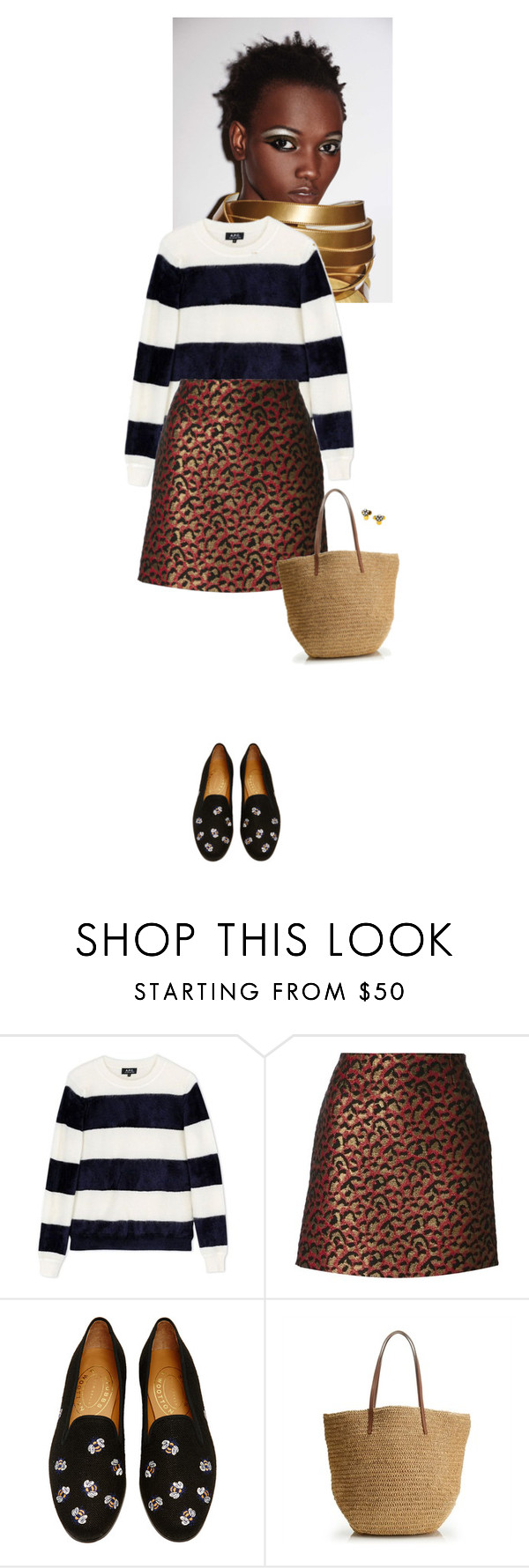 """Untitled #2083"" by wizmurphy ❤ liked on Polyvore featuring A.P.C., Yves Saint Laurent, Stubbs & Wootton, J.Crew, BaubleBar, women's clothing, women, female, woman and misses"