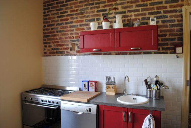 cuisine plan de travail effet b ton cir vier rond. Black Bedroom Furniture Sets. Home Design Ideas