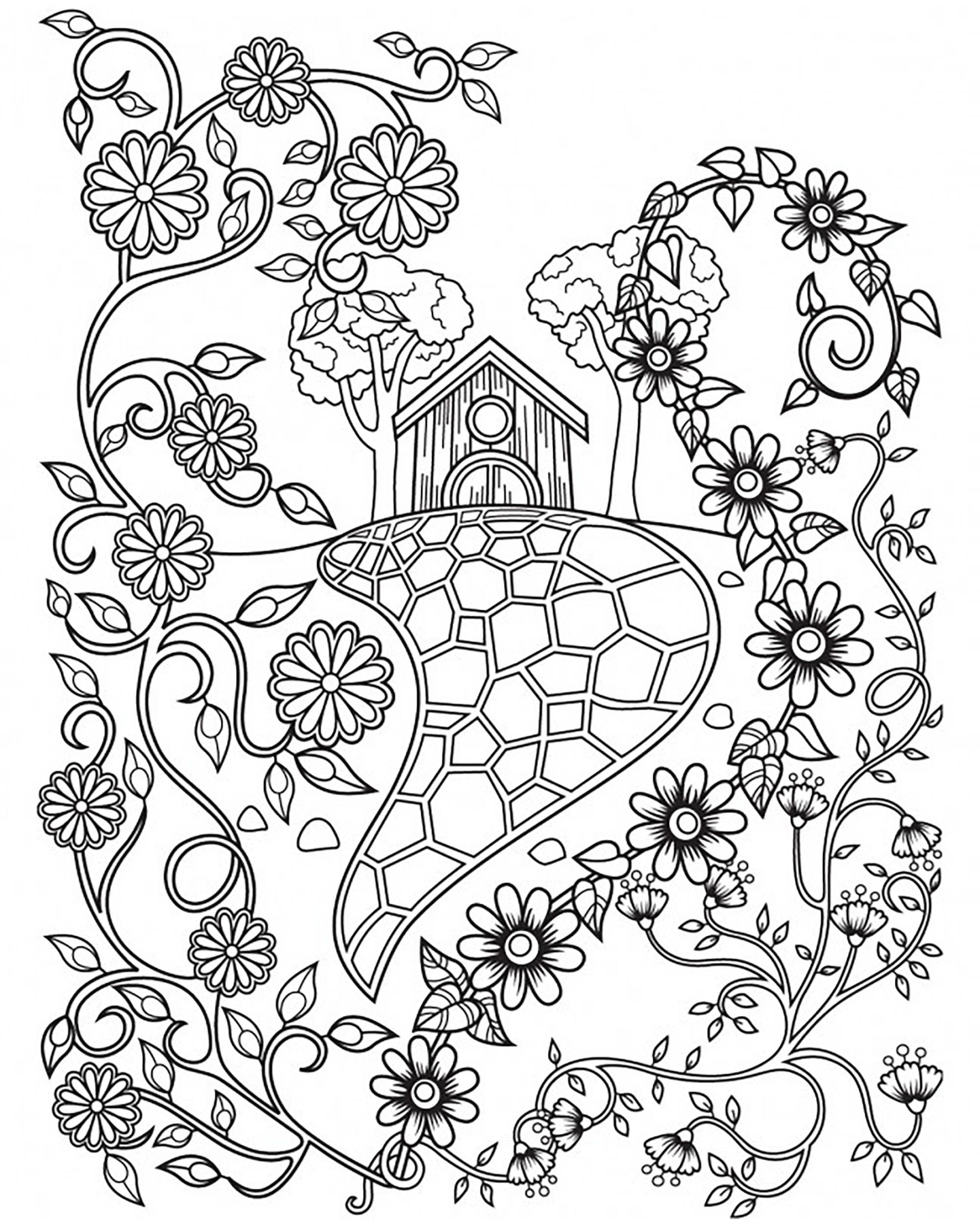 Illustration Inspired By Some Fairy Tales With A House Nearly Hidden Behind Flowers Field Coloring Page Offered Cinthia