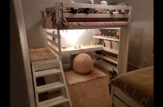 Full Loft Bed With Stairs AND Desk: / kids loft / teen room / adult / dorm
