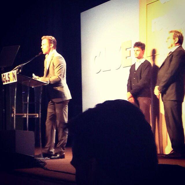 Derek's  acceptance speech at GLSEN awards with Kenny Ortega