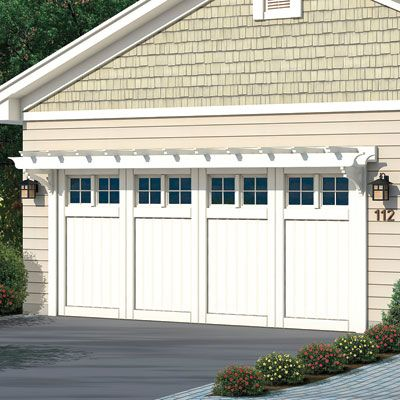 Beautiful Photoshop Redo: Sprucing Up A Basic Split Level. Craftsman Garage DoorGarage  ...