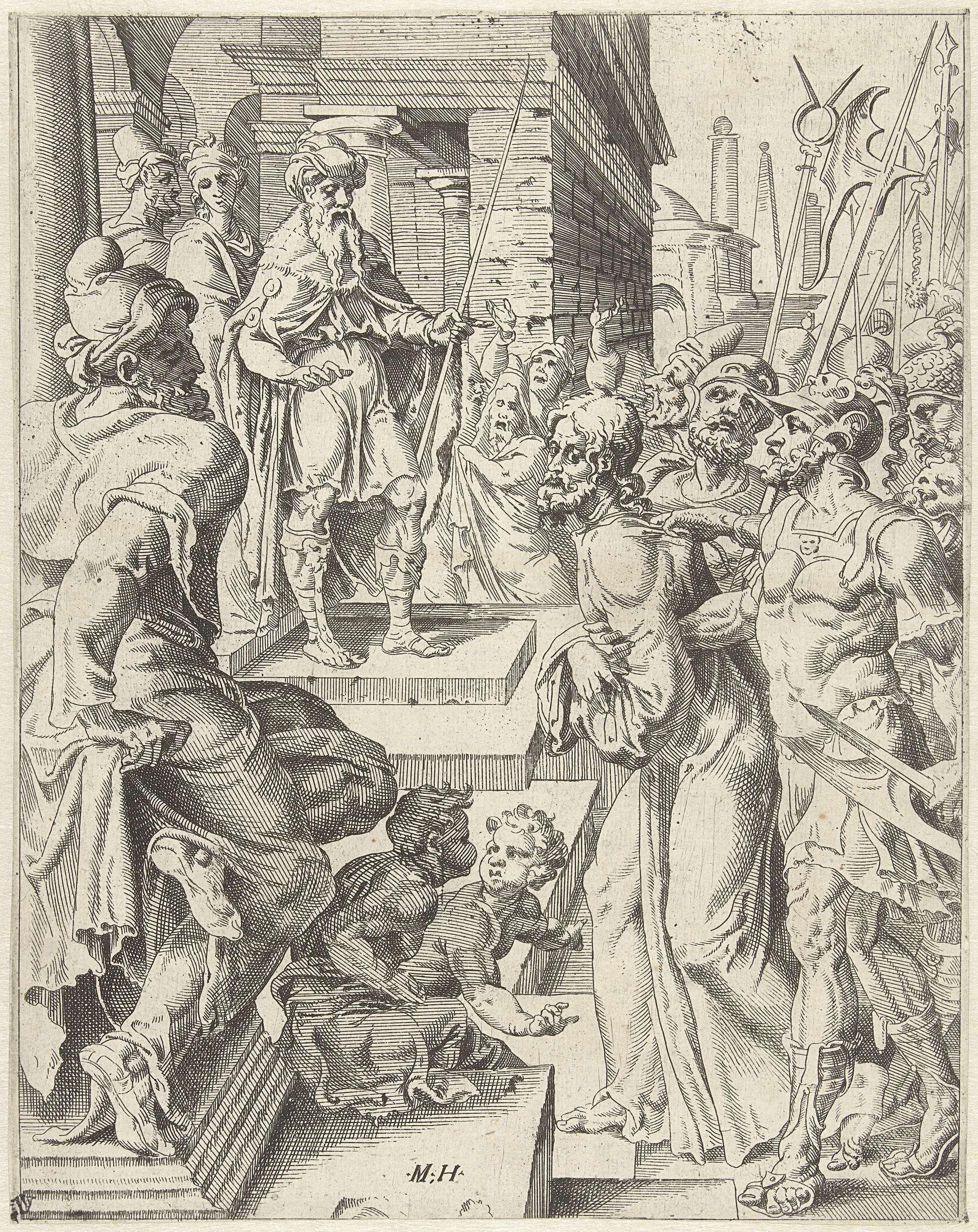 anoniem | Christus voor Pilatus, attributed to Dirck Volckertsz Coornhert, 1548 | Christus wordt voor Pilatus gebracht. De menigte schreeuwt om zijn executie. De prent is deel van een dertigdelige serie met prenten over de zondeval en Christus' passie.