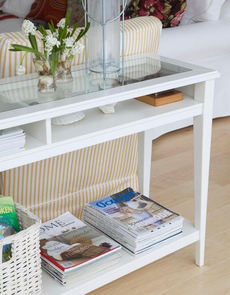 Konsolentisch In Wei Mit Glasplatte Und F Cher Zu Verstauen Int Rieur Tisch Sofa Und