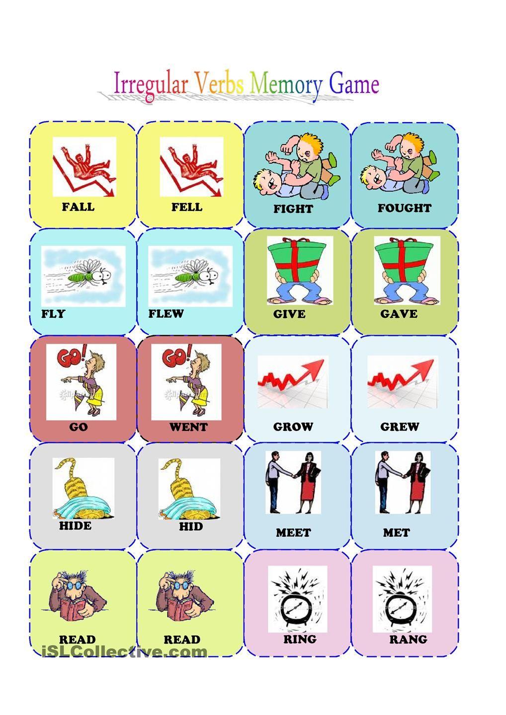 Irrgular Verbs Memory Card Game 2 3 Free Esl