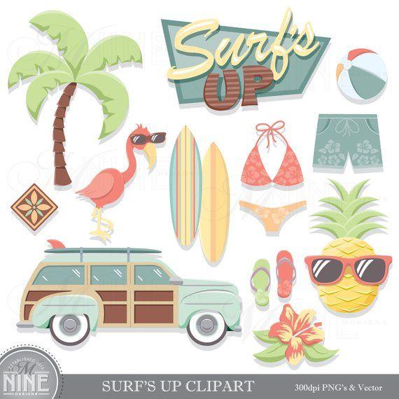 Vintage Beach Clip Art / SURFING THEME Clipart Downloads
