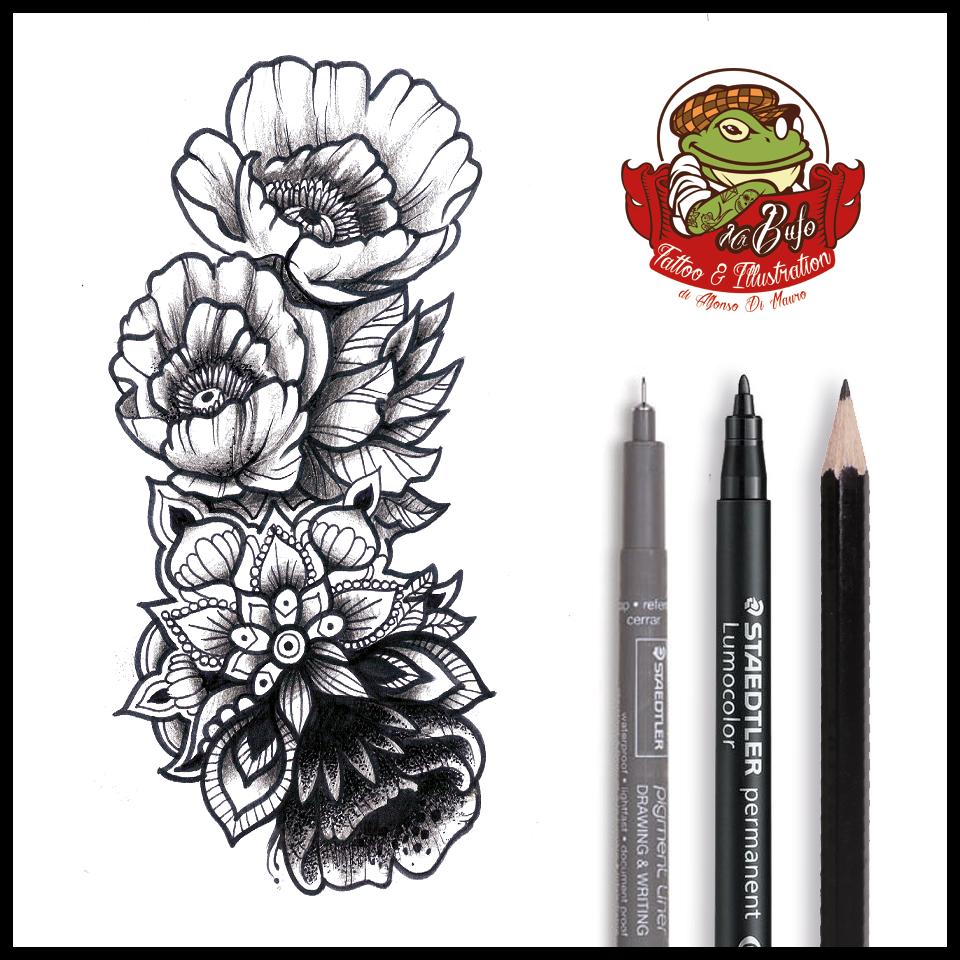 Mandala Flower Composition  Tattoomadeinitaly Tattoos
