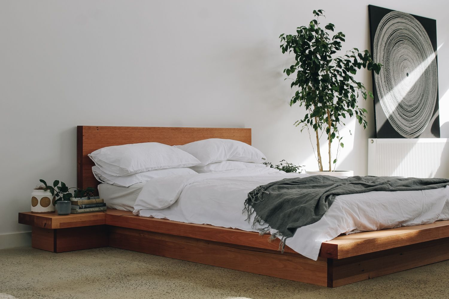 Ledge Bed Handmade Recycled Messmate Timber Bed Frame With Built