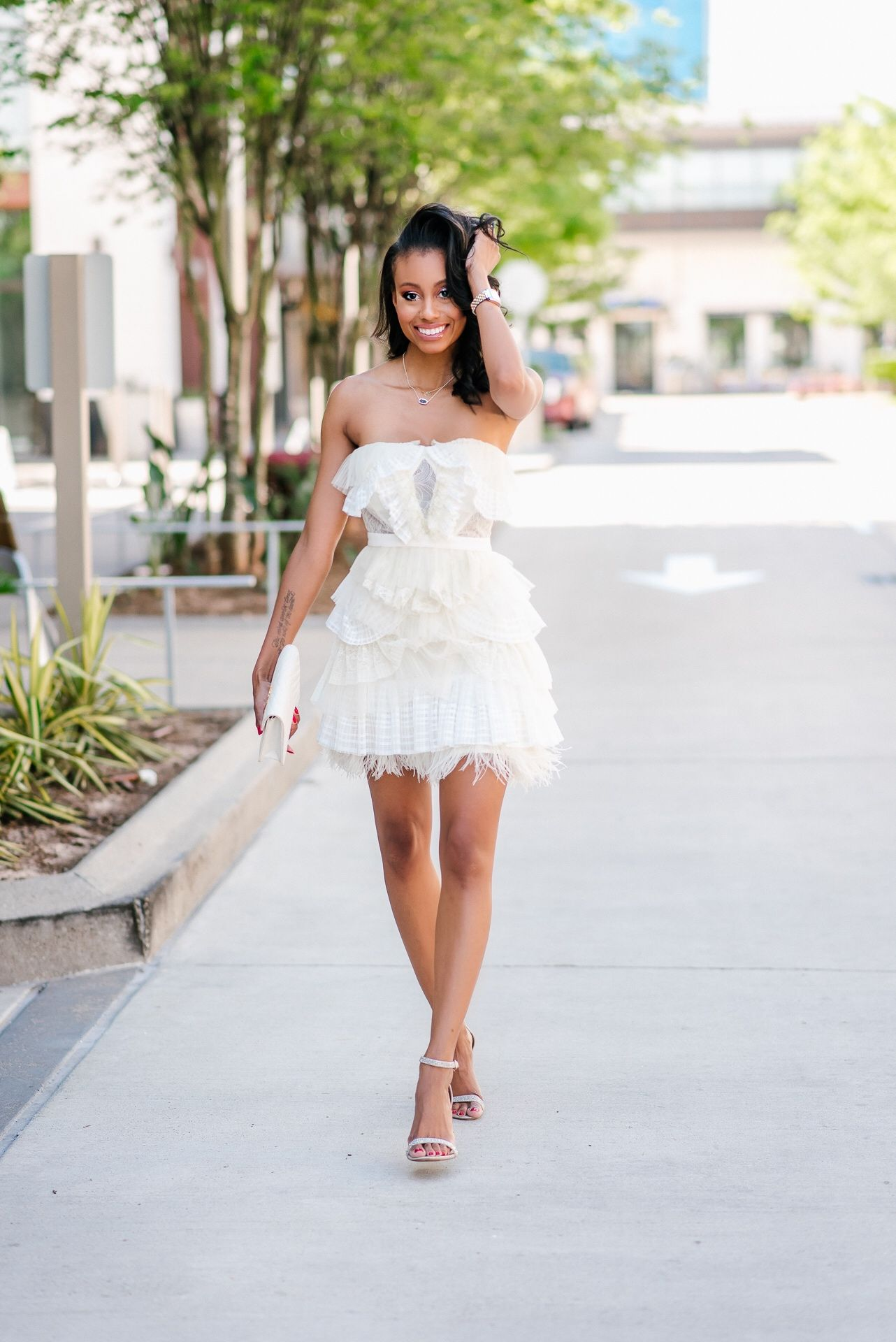 White layered party dress yellow things layering and fashion bloggers
