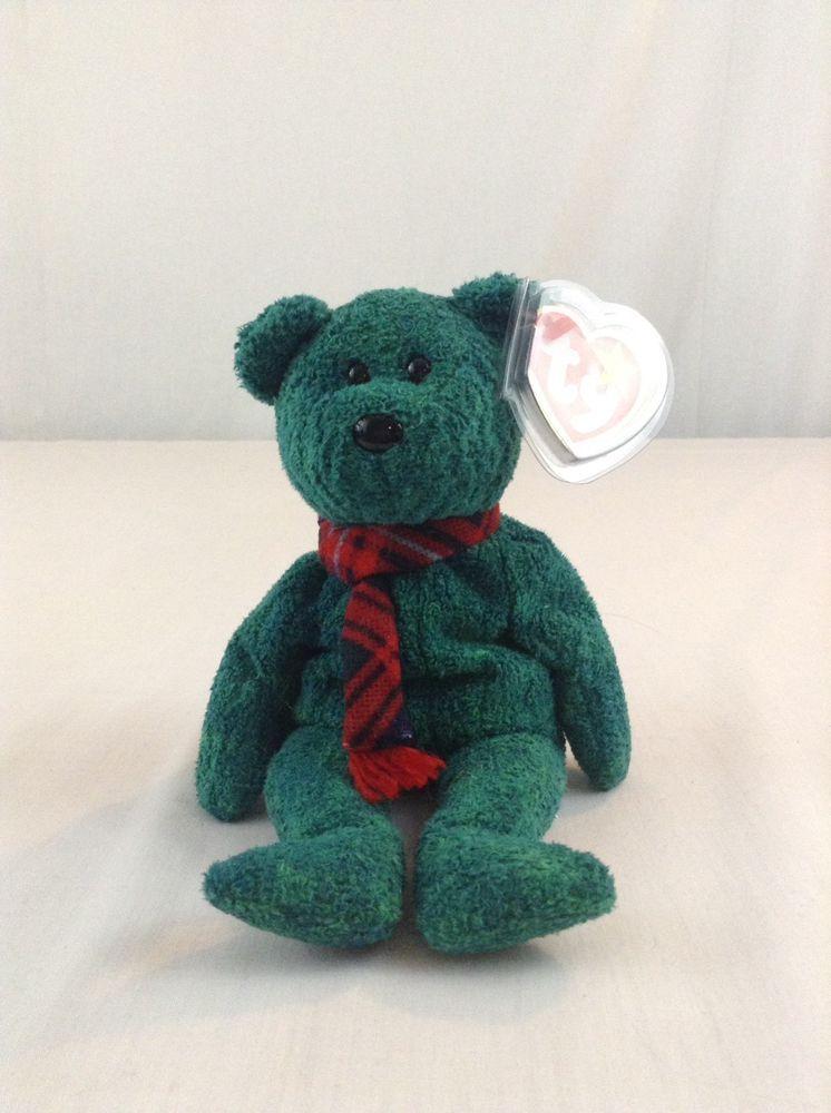 1999 Ty Beanie Baby Wallace Scottish Green Bear Stuffed Plush Animal Toy  Ty 2fcd8c1639e