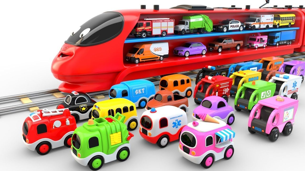 Colors For Children To Learn With Train Transporter Toy Street Vehicles Educational Videos Toy Street Coloring For Kids Toys