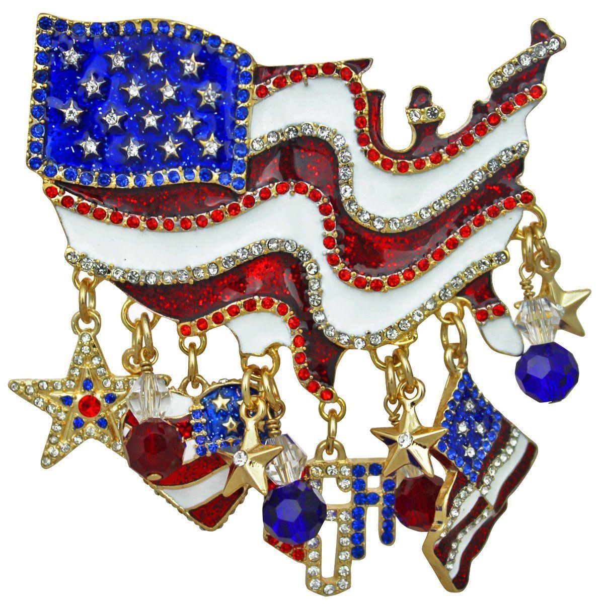 Ritzy Couture American Flag Multi Charm Pin Pendant (Gold-tone). Sport 926bf11e648b