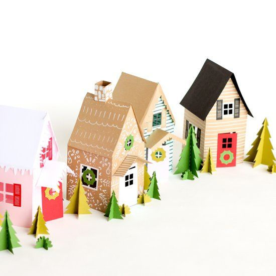Paper Holiday Houses Free Template Craft Gawker Xmas