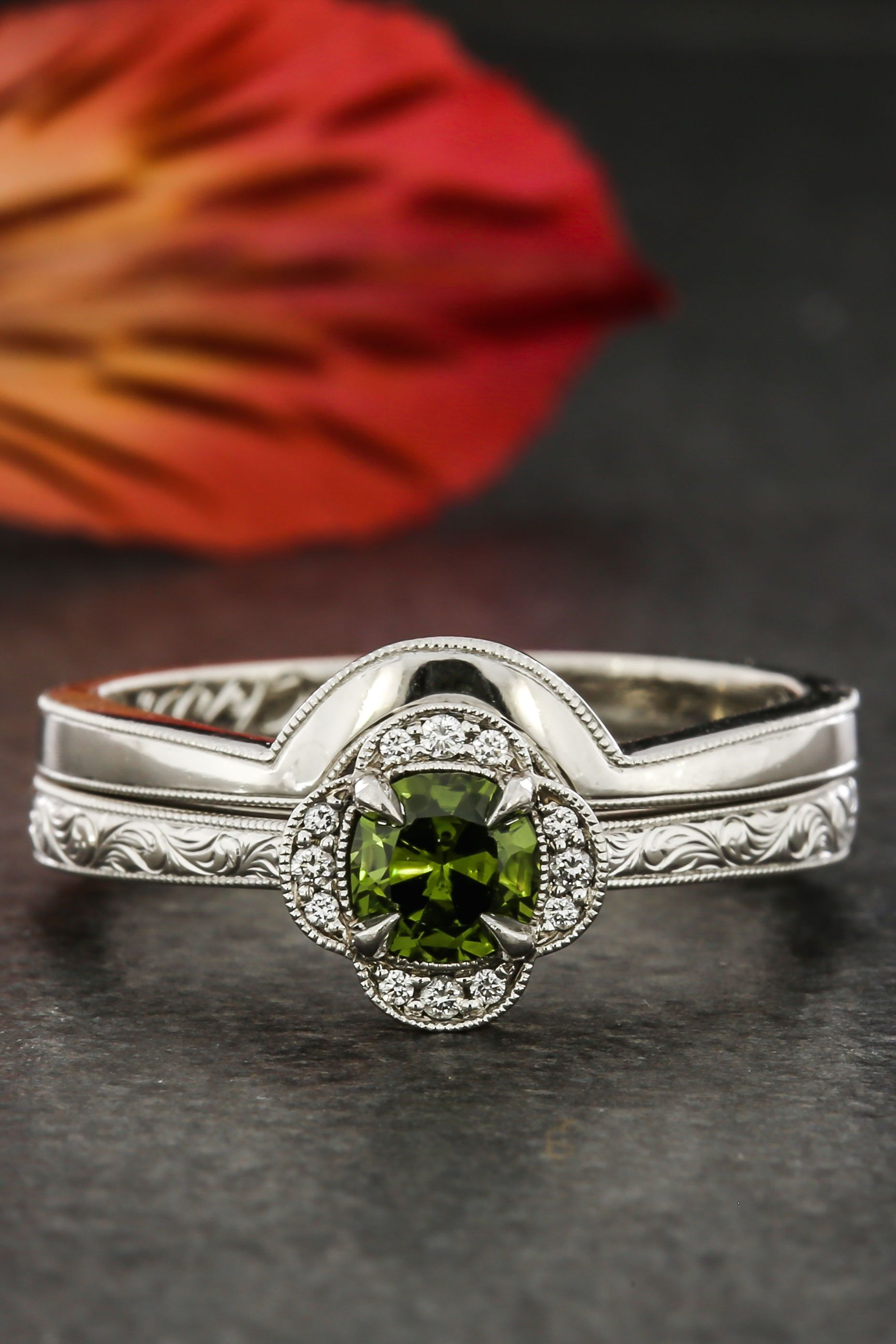 Custom Hand Carved Platinum Shadow Band. Green Lake