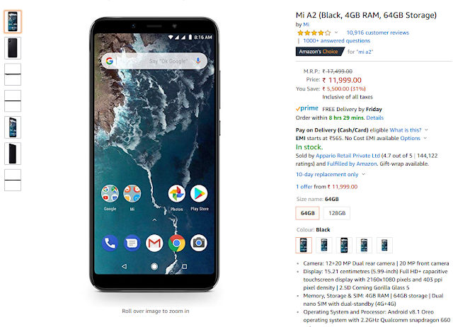 Deal On Xiaomi Mi A2 On Amazon In Now Just Rs 11 999 Xiaomi Amazon Android One