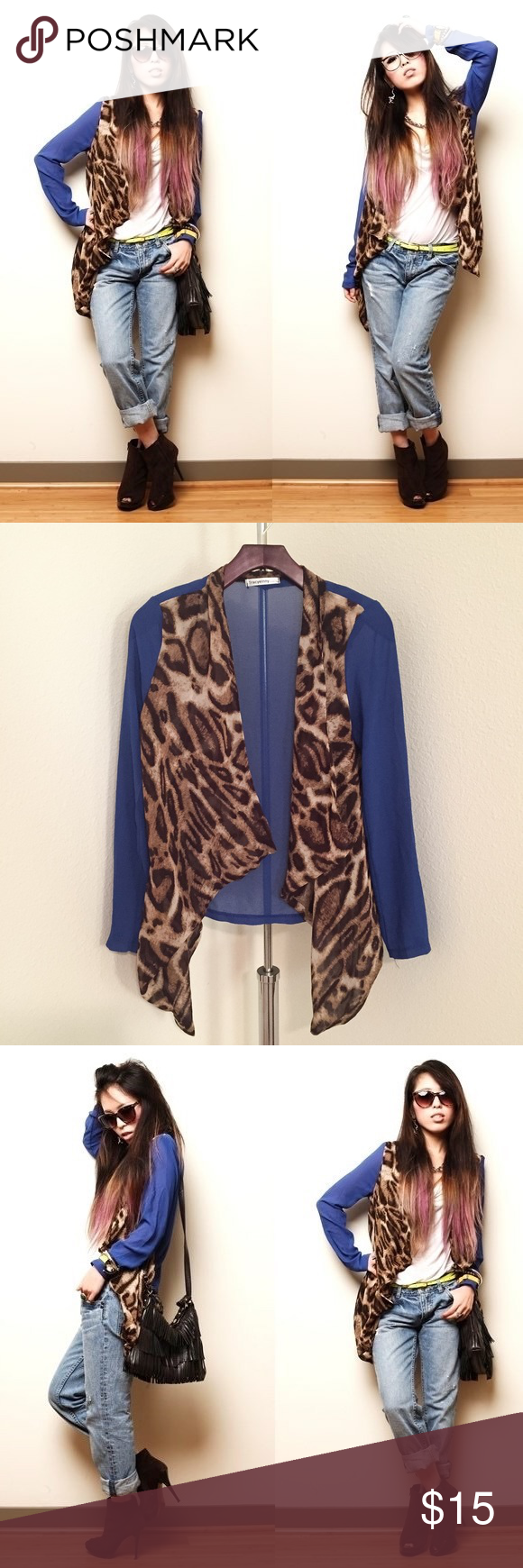Sheer Leopard & Blue cardigan | Leopards, Photoshoot and Shoulder