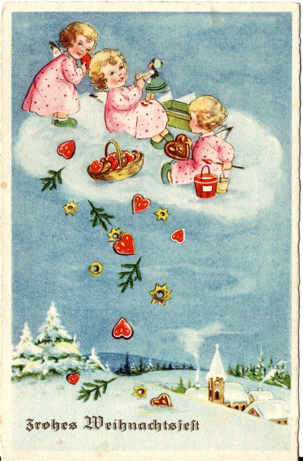 E Cards Weihnachten.Weihnachten Kleine Engelchen Auf Der Wolke Lebkuchen Puppe 1940