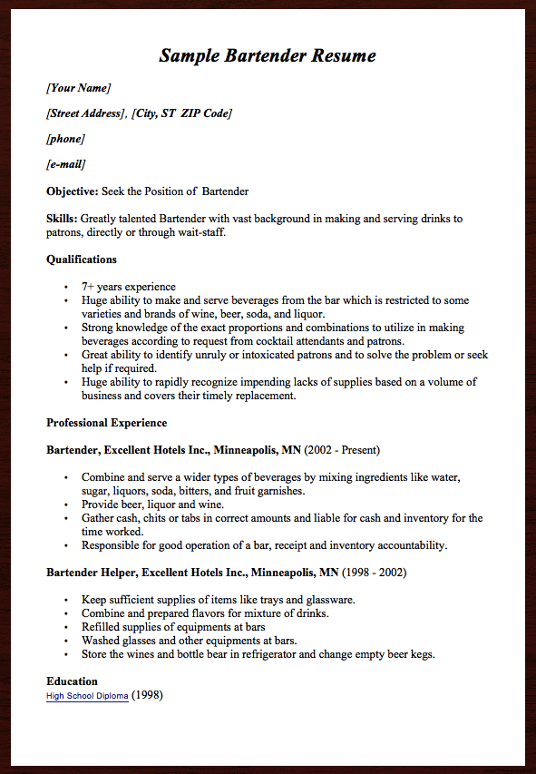 Bartender Resume Examples Here Comes Another Free Sample Bartender Resume Example You Can