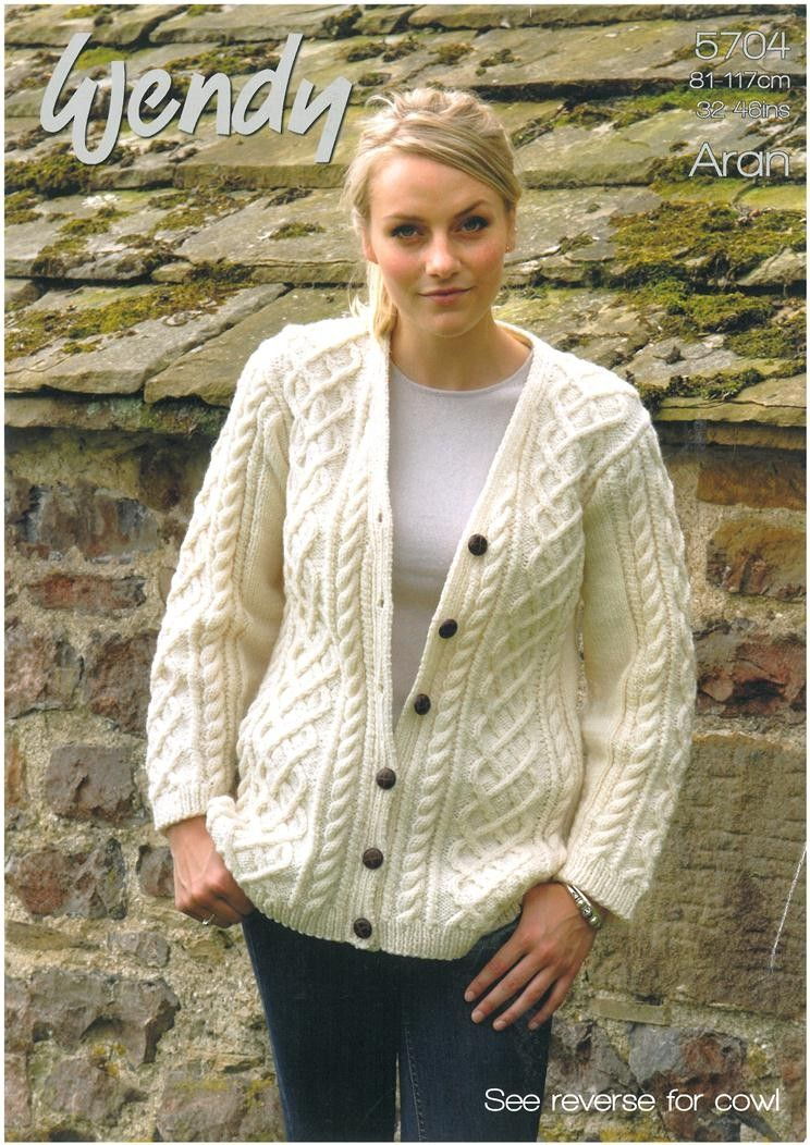 Ladies V - Neck Cardigan & Cowl in Wendy Traditional Aran ...