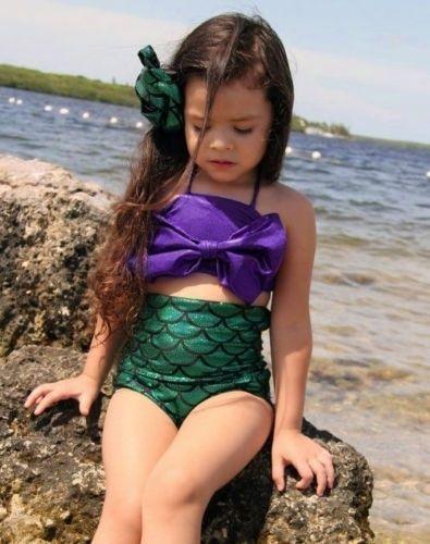 d8159f661056f Hot kid Girls Little Mermaid Tail Swimmable Swimming Costume Swimsuit Bikini  Set