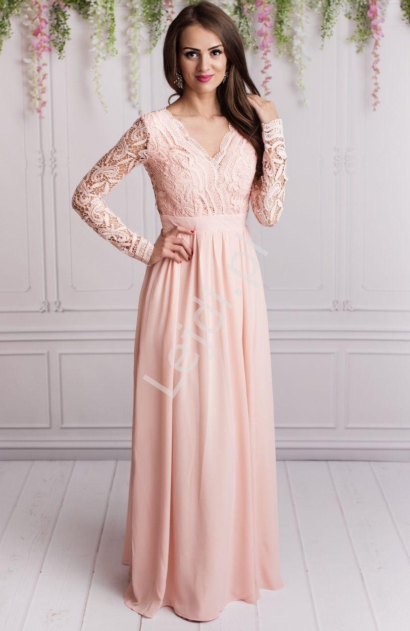 6998827321 Przepiękna długa jasnoróżowa suknia wieczorowa w długi koronkowy rękaw.  Suknia z długimi rękawami wykonanymi z