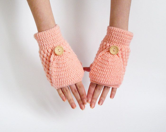 Women Convertible Mittens With Flip Top In Peach Pink. $28.00, via ...