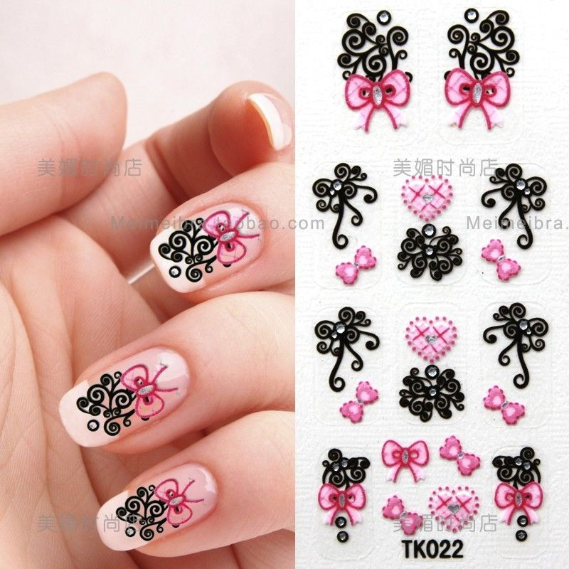 Nail Art Sticker | 3D nail decals nail stickers diamond butterfly ...