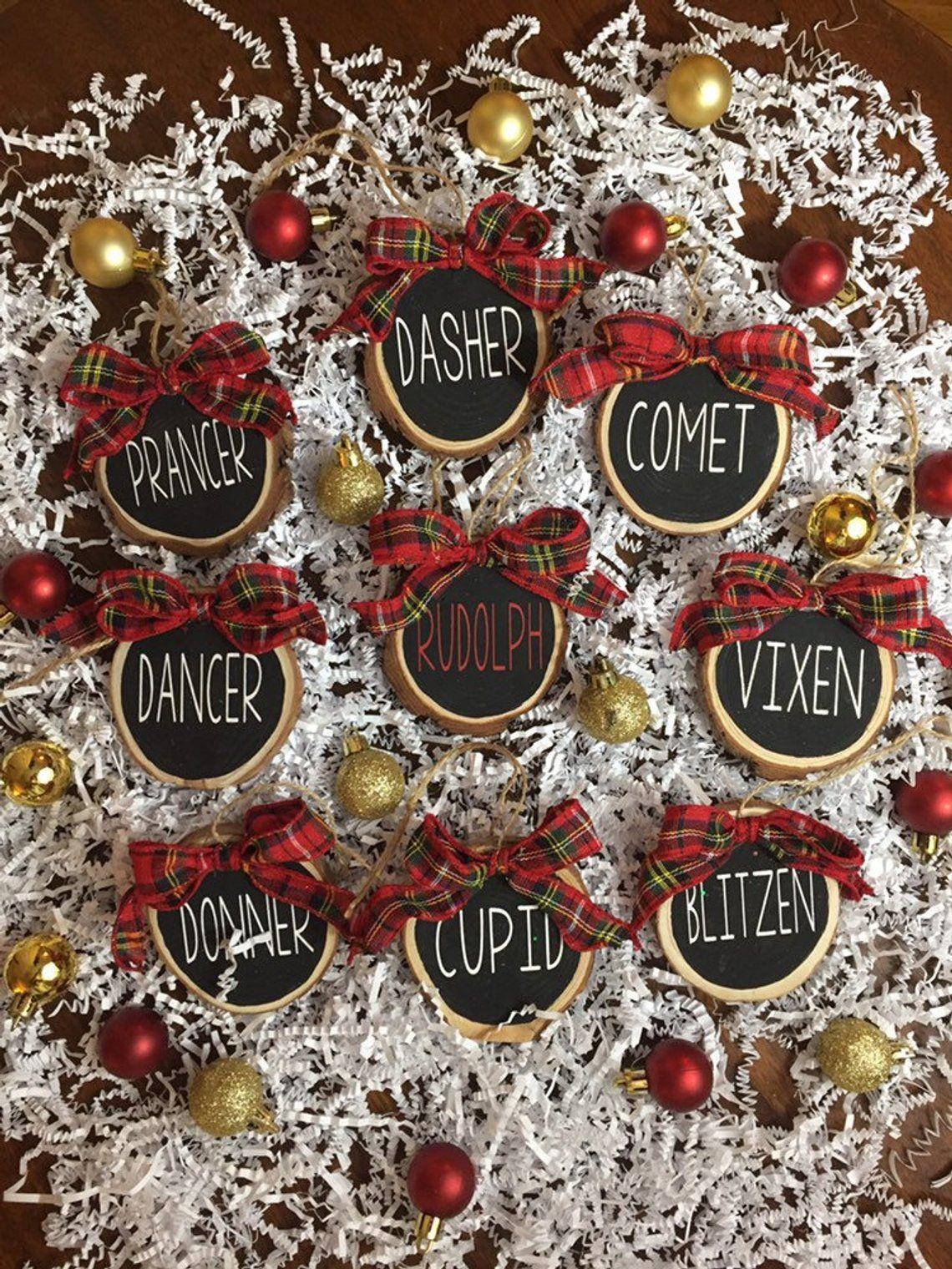 Reindeer Names Ornaments Wood Slice Christmas Ornaments Etsy Reindeer Decorations Holiday Ornaments Silver Christmas Decorations