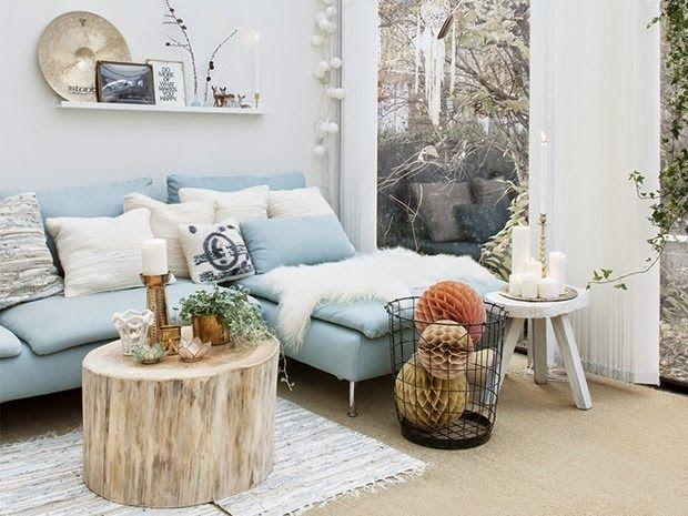 Un salón-comedor nórdico, bonito y encantador   Blaue couch ...