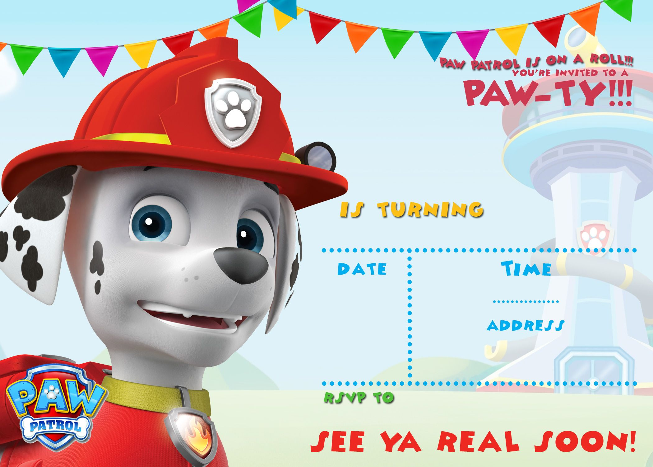 FREE Printable Paw Patrol Invitation Template All Characters