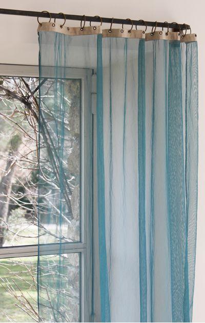 voilage bleu canard pour chambre vert