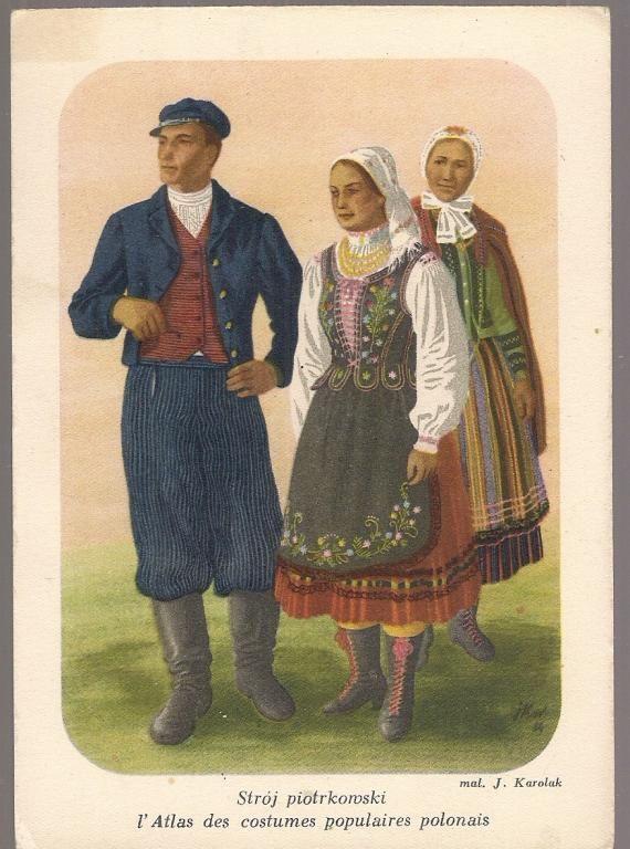 Pocztowka Stroj Piotrkowski Karolak Atlas 4463964279 Oficjalne Archiwum Allegro Polish Folk Art Folk Costume Folk
