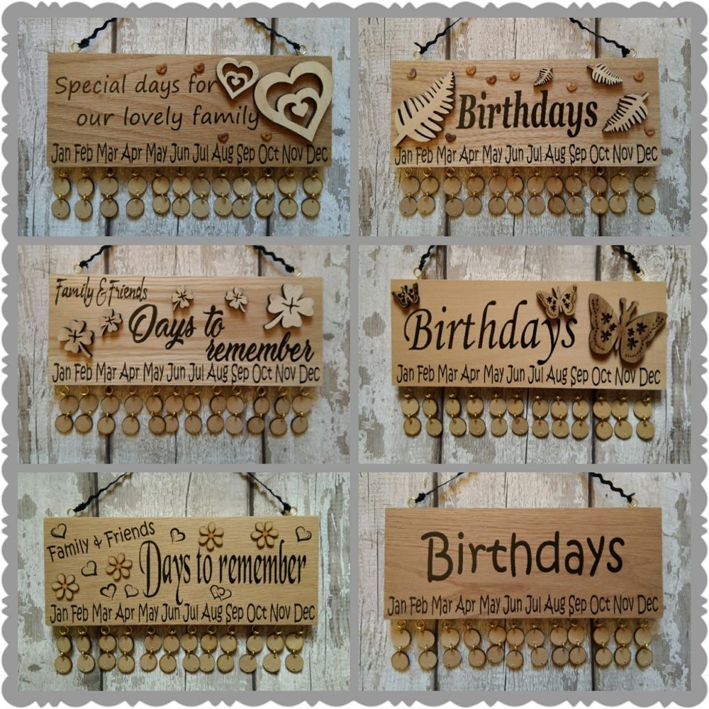 Details about birthday reminder calendar wooden discs