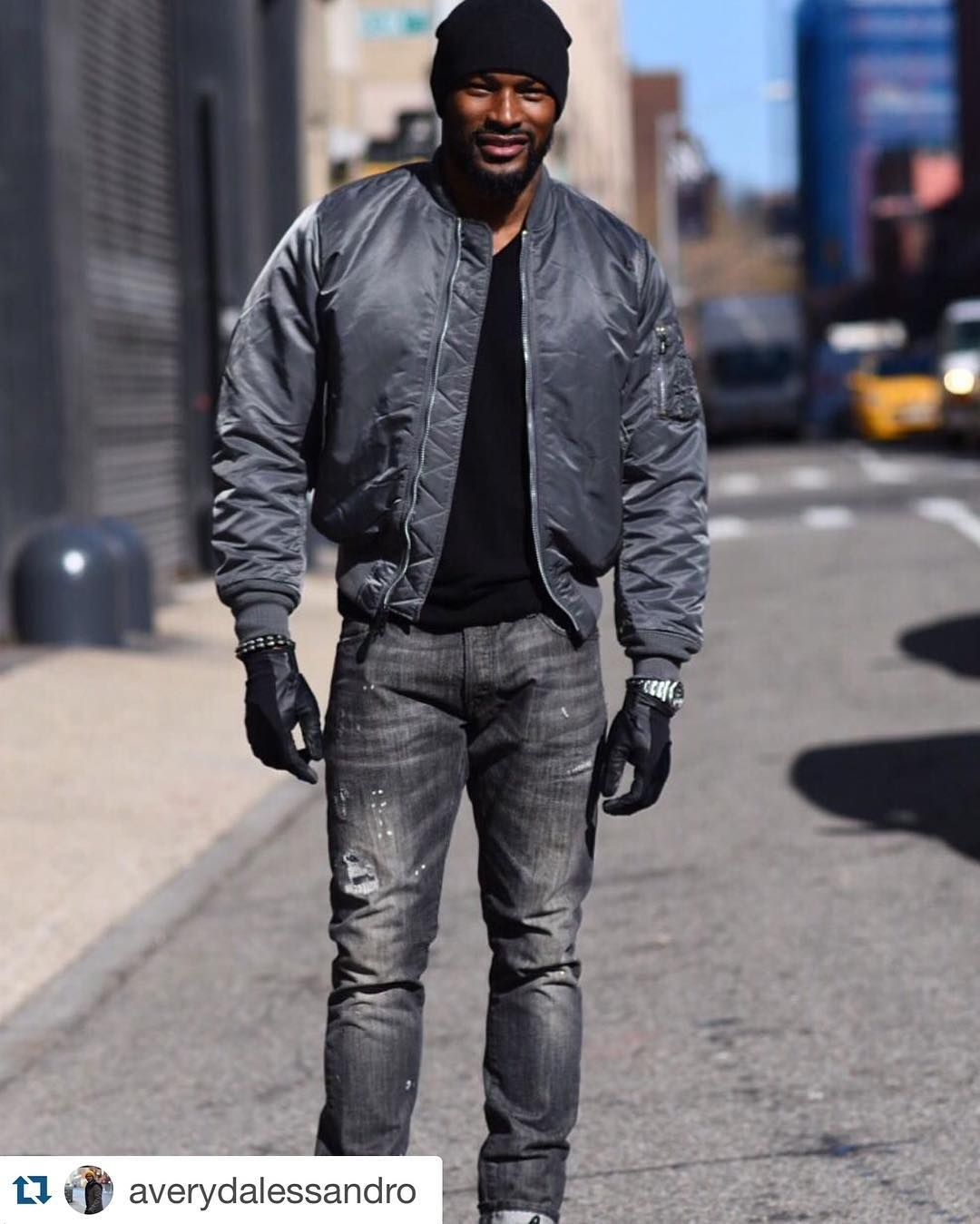 Model Tyson Beckford Wearing The Ma 1 Flight Jacket In Black On The Streets Of New York