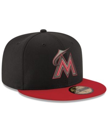 the best attitude f3d06 cb516 New Era Miami Marlins Black   Red 59FIFTY Fitted Cap - Black Red 7 5 8