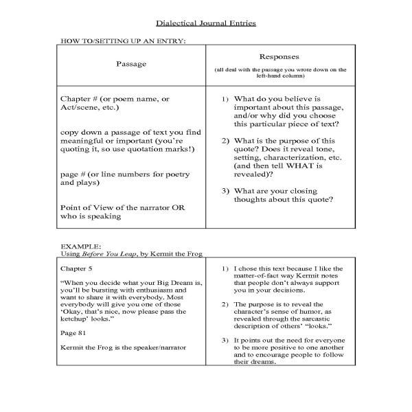 Dialectical Journal Essay Sample