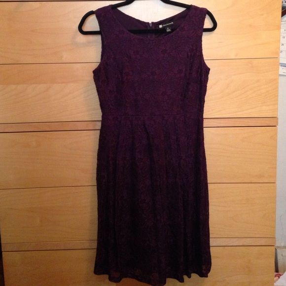 Dark purple lace dress Formal dress with underlined material. Pleated skirt. Dresses