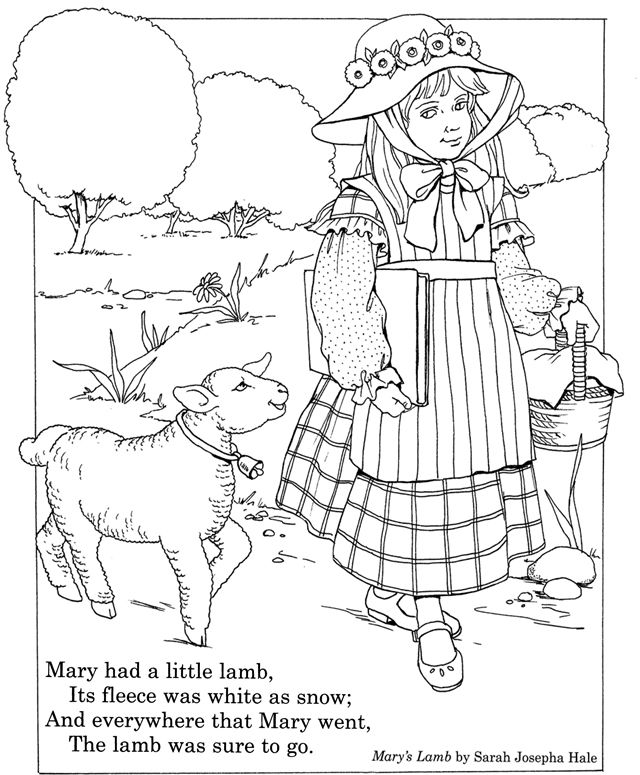 nursery rhyme coloring page inkspired musings mary had a little lamb nursery rhyme fun