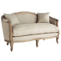 Linen European Furniture - Natural Linen Settee