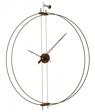 b8a4ad2bf4615 Horloge murale en acier et noyer 35.5 Móveis Legais