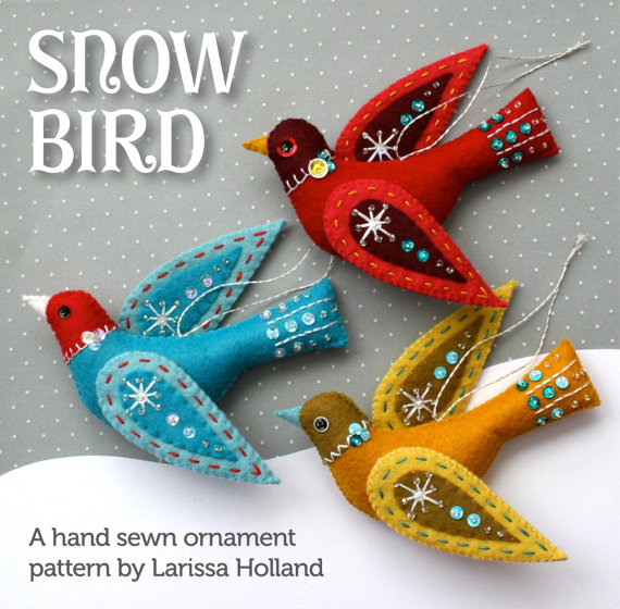 Snow Bird PDF pattern for a hand sewn wool felt ornament #feltbirds