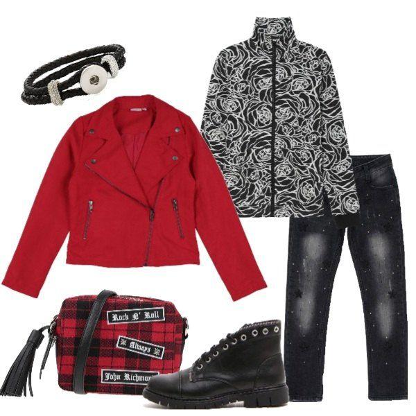 Outfit grintoso per la nostra bambina: jeans nero effetto