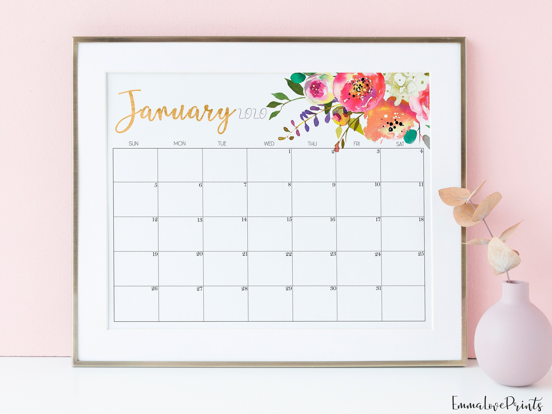 Large Wall Calendar 2020 Floral Calendar 2020 Calendar Desk