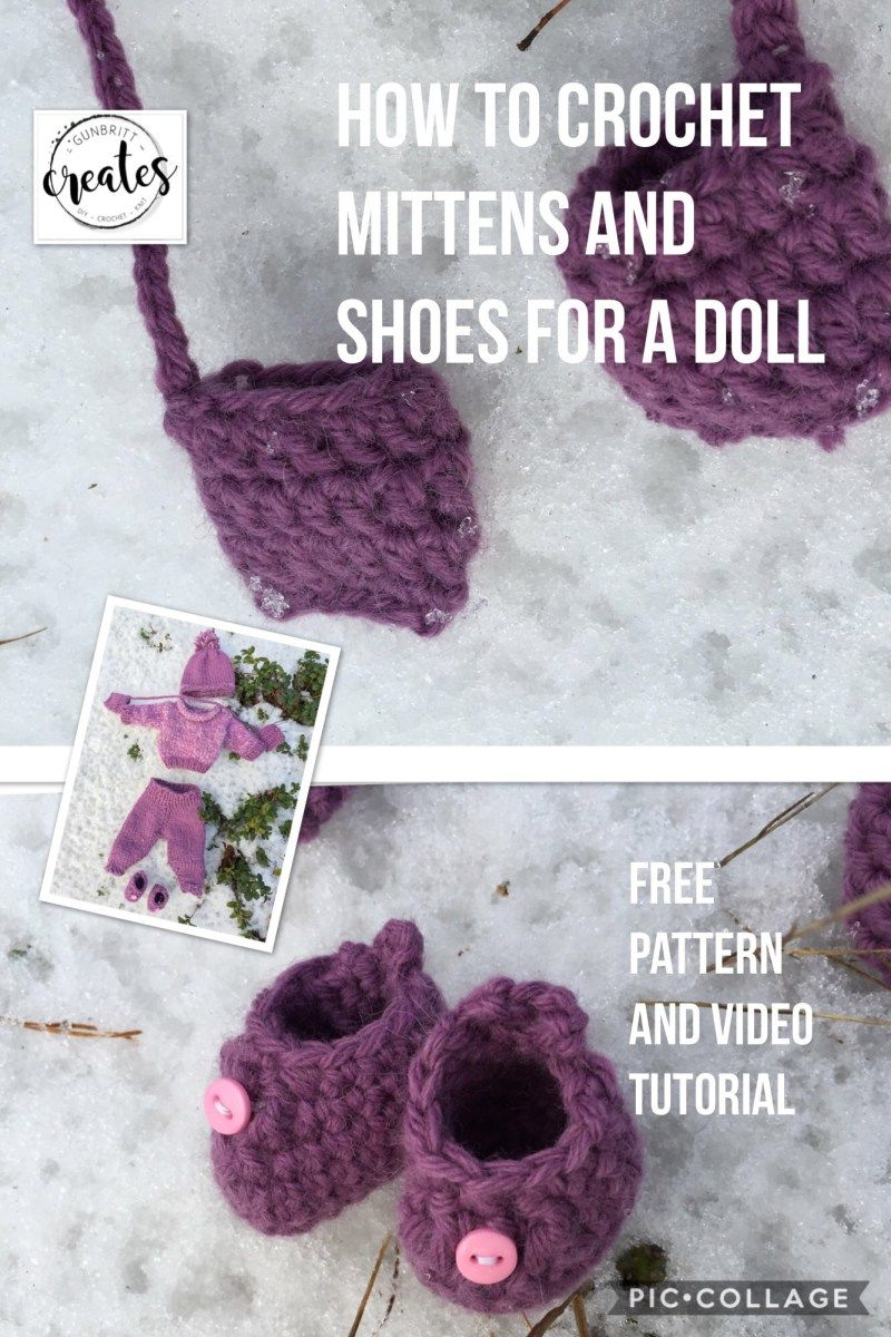 How to crochet Mittens and Shoes for a 30 cm Doll. | Crochet ...