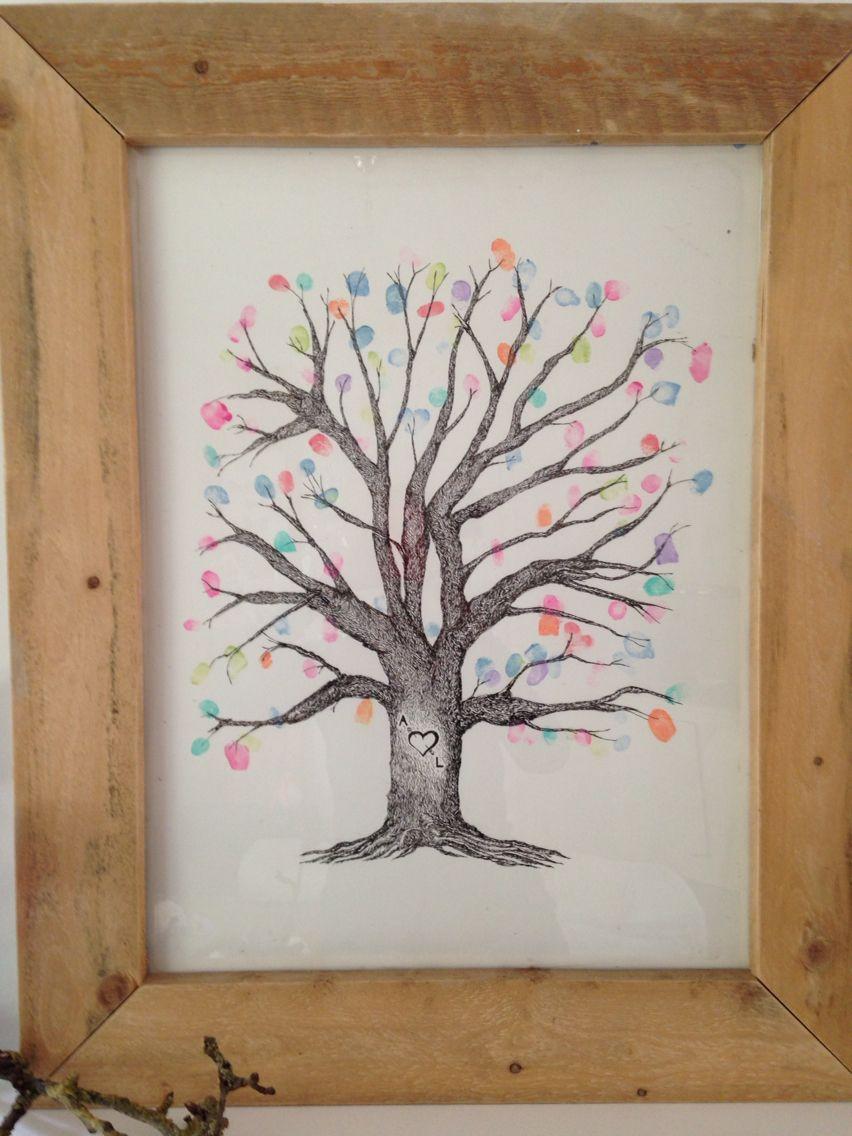 Fingerprint tree van onze gasten op onze bruiloft