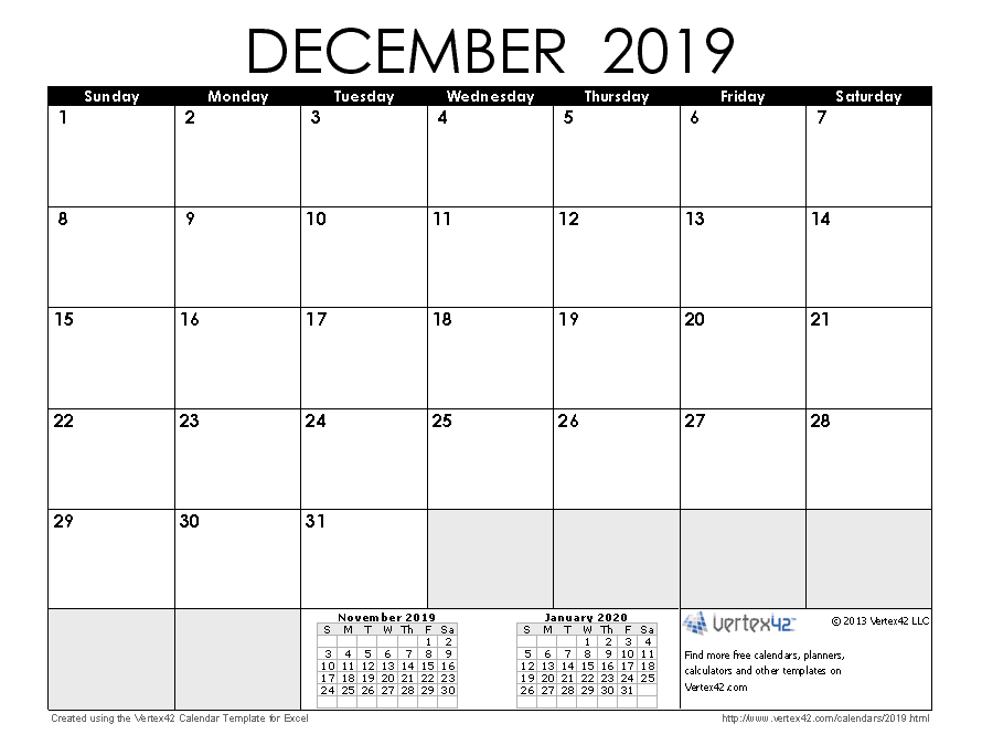 Monthly Calendar Free December 2019 To January 2019 December 2019 Calendar | Planner ideas | Calendar june, Excel