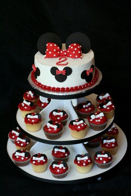 Tremendous Minnie Mouse Themed Cake And Cupcake Tower So Cute With Images Funny Birthday Cards Online Inifofree Goldxyz